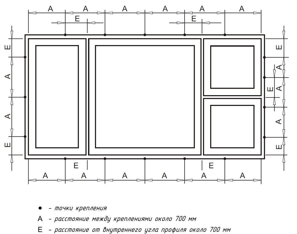Точки крепления пластикового окна и расстояние между ними