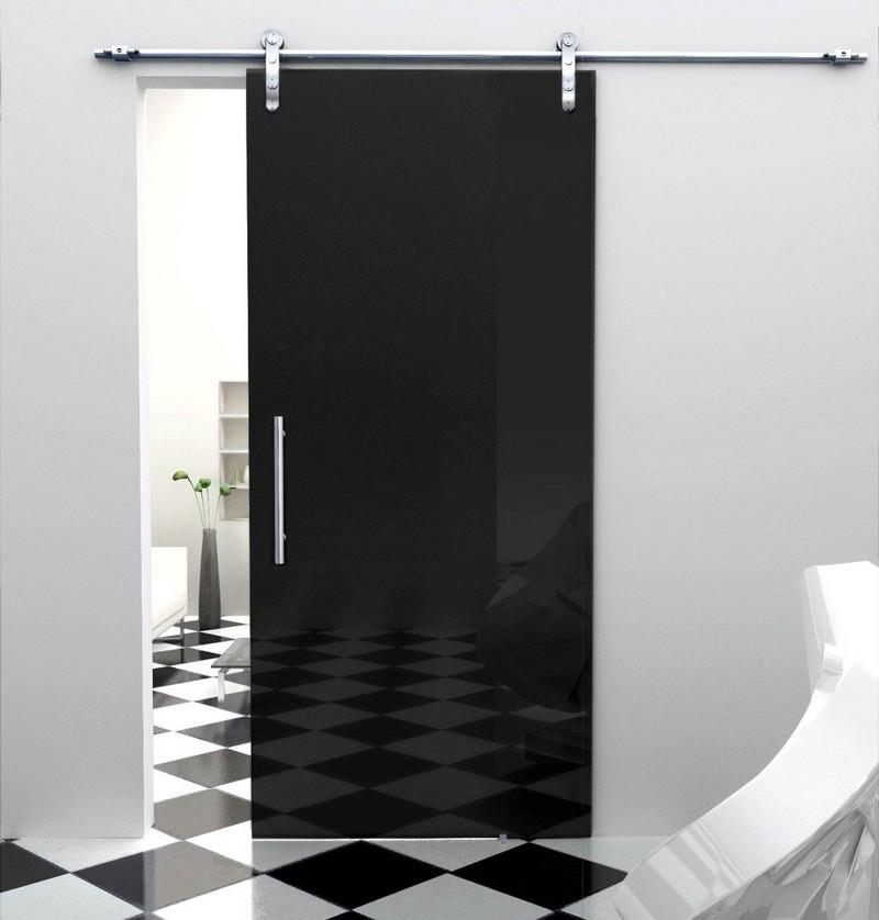 Сдвижная тонированная стеклянная дверь