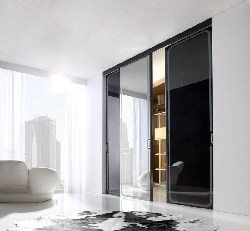 Раздвижные межкомнатные стеклянные двери из тонированного стекла