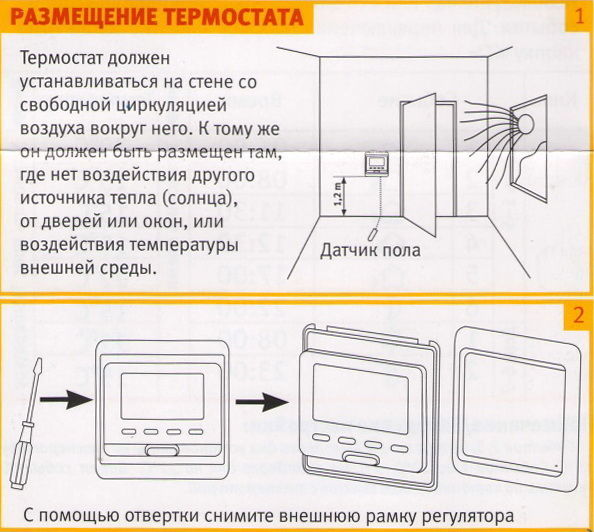Правила установки терморегулятора инфракрасного теплого пола
