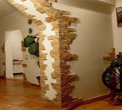 Отделка межкомнатной арки декоративным камнем