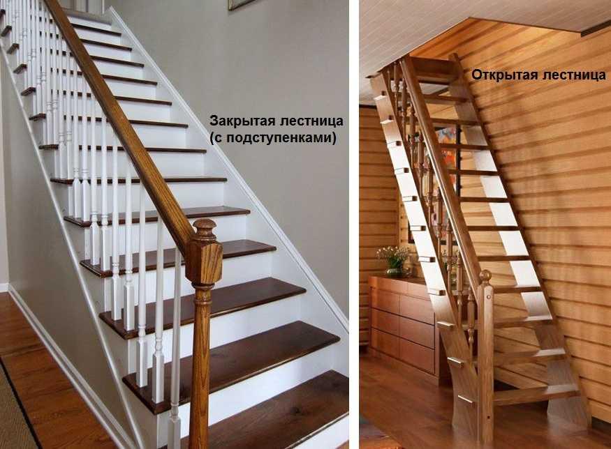 Лестница с открытыми ступенями и закрытыми ступенями