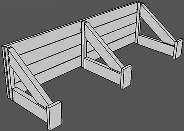 Щит просто устанавливается на уже «схватившийся» бетон, и упирается в края траншеи, но уже на другом уровне