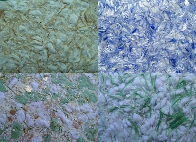 Несколько видов жидких обоев, с большим содержанием шелковых волокон