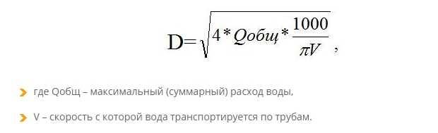 Формула расчета диаметра полипропиленовых