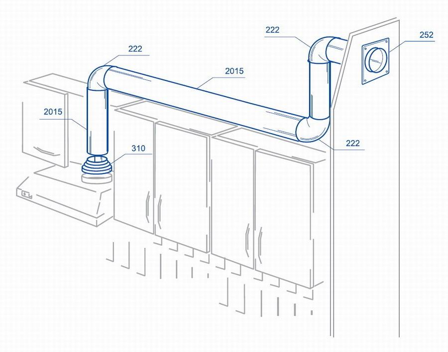 Подключение кухонной вытяжки пластиковым воздуховодом