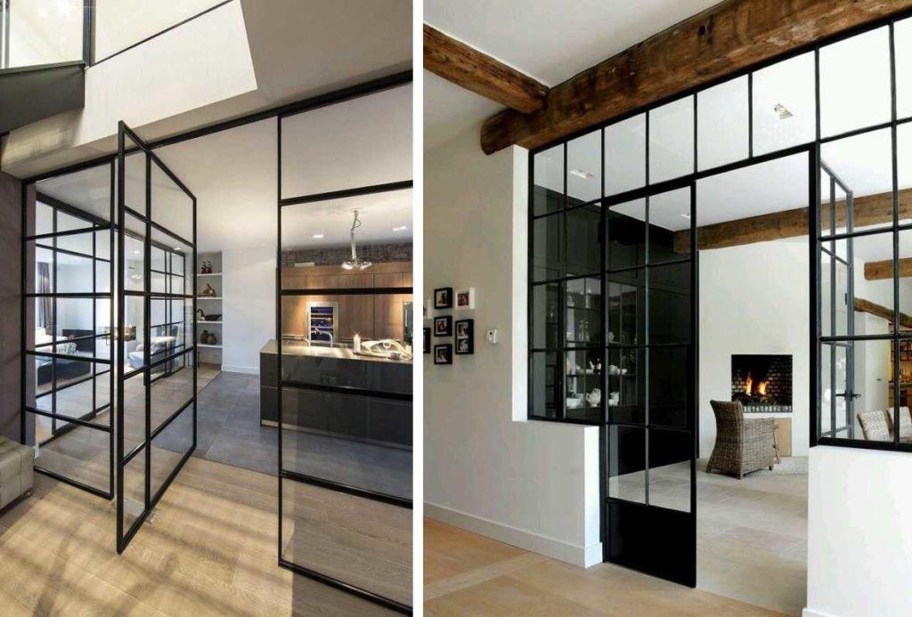 Тонкие черные импосты — этот стиль подходит для скандинавского направления, хорош в лофте, модерне и современных интерьерах