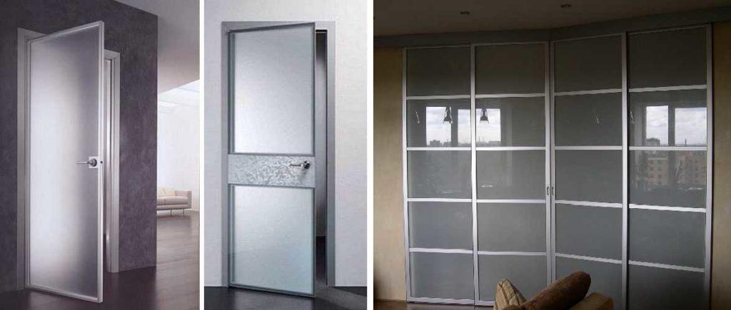 Стеклянные двери в рамке из алюминия, древесины, пластика