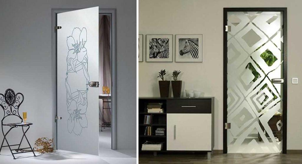 Стеклянные двери распашного типа