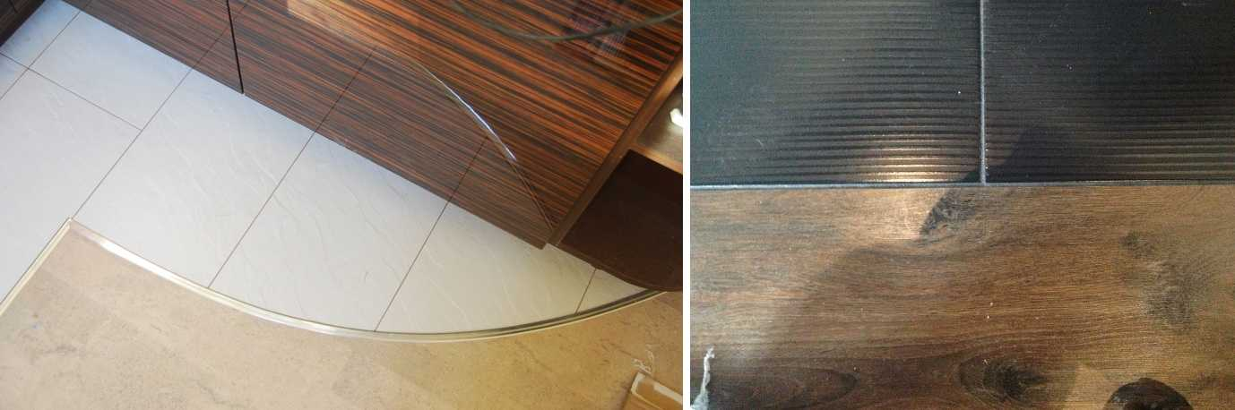 Два вида оформления места соединения плитки и ламината — с порожком и без