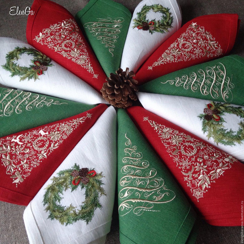 Тканевые салфетки для новогоднего стола