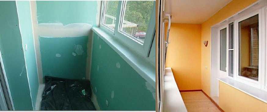 Еще один вариант обшивка балкона — гипсокартоном