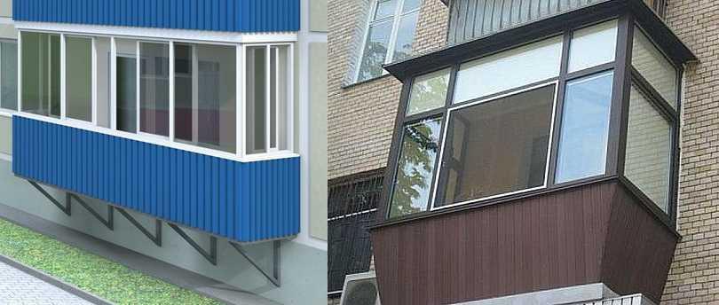 Недорого обшить балкон снаружи можно металлическим сайдингом или профлистом