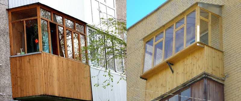 Обшить балкон снаружи можно и деревом — вагонкой, например