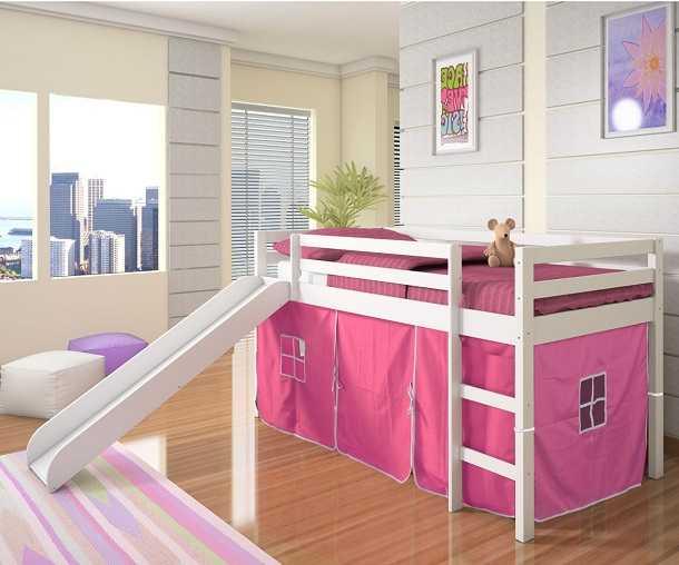 Кровать чердак с горкой популярен у детей