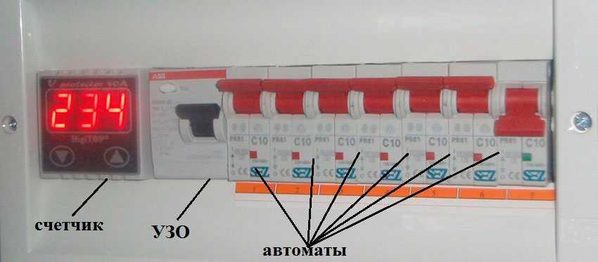 Один из примеров компоновки щитка для небольшой схемы — на 6 автоматов