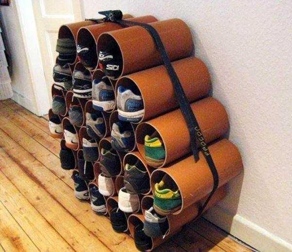Система хранения обуви из пластиковых труб…