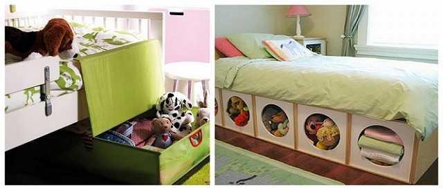Ящики под кроватью — места не занимают, а спрятать туда можно уже надоевшие игрушки