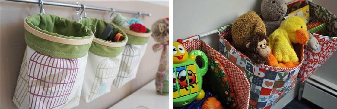 Кармашки или мешочки на трубе — еще одна идея для хранения игрушек в детской
