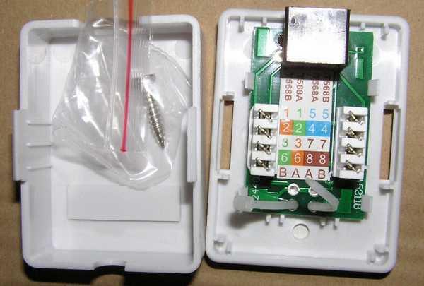 Пример нанесения цветовой маркировки на корпусе компьютерной розетки