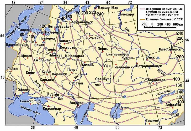 По этой карте можно примерно определить уровень промерзания грунтов в регионе