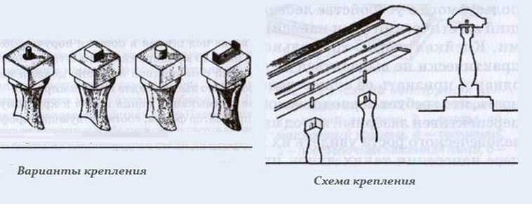 Вырезать на верхушках балясин шипы, в поручне выемки под них
