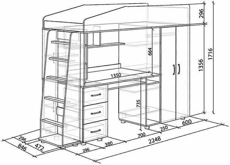 Чертеж кровать чердак со шкафом