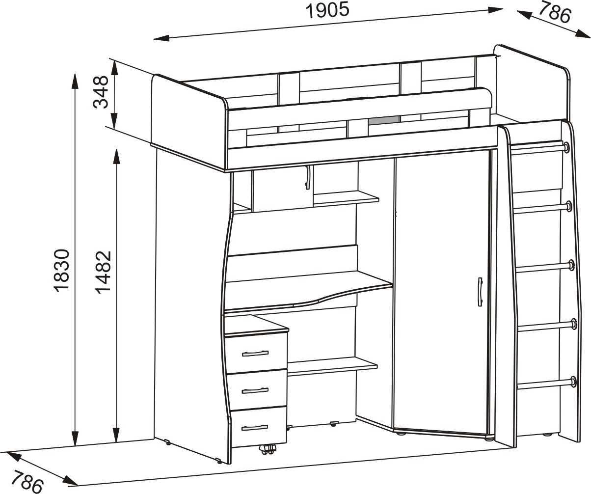 Чертеж кровать чердак: кровать для подростка со шкафом и рабочим местом
