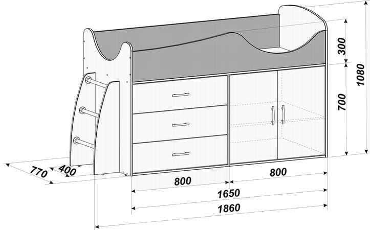 Чертеж кровать чердак: Невысокое спальное место подойдет для младшего возраста