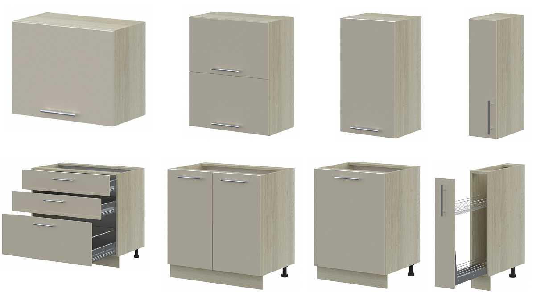 Больше всего вот таких вариантов — обычные напольные и настенные шкафчики