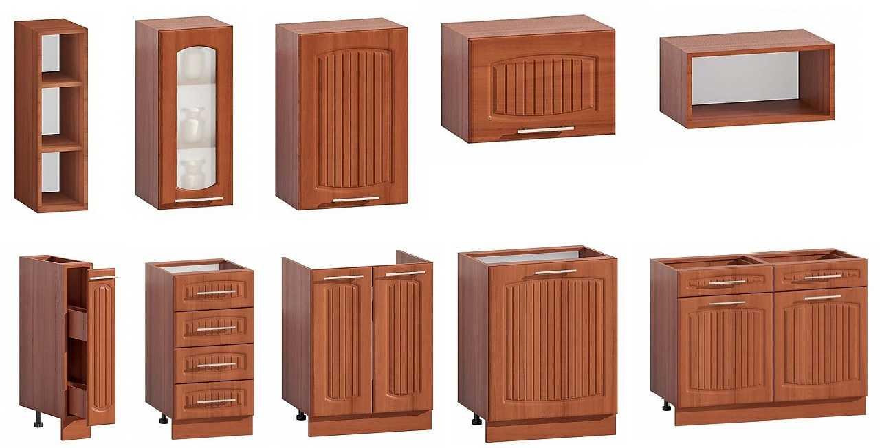 Размеры — ширина, глубина, высота — бывают разные, что и позволяет подобрать модульную кухню как в малогабаритное помещение, так и в просторное