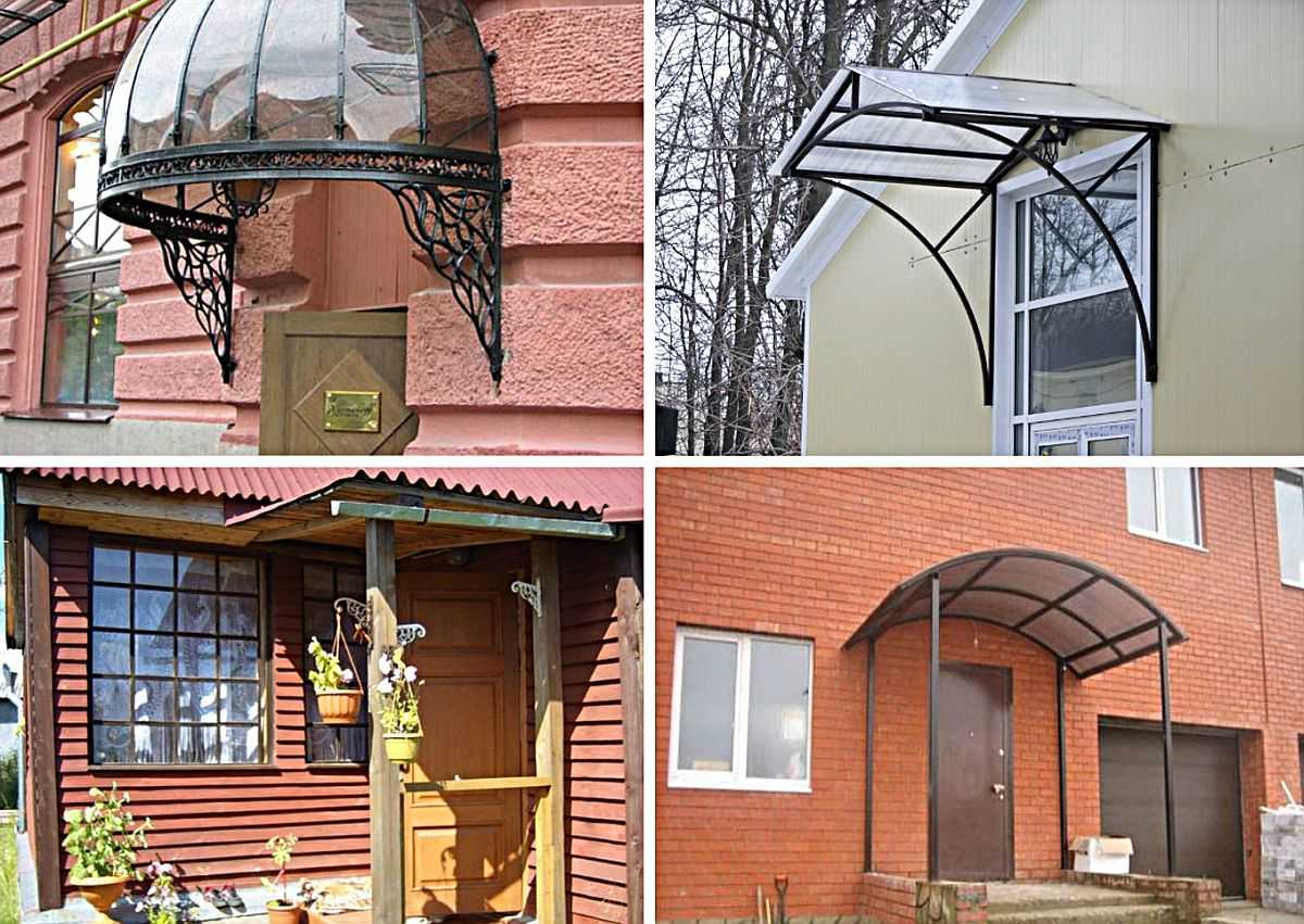 Металлический прокат разного типа и древесина — вот два материала, которые используют при строительстве козырька над крыльцом