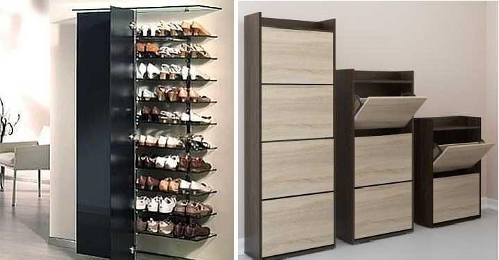 Обувница для прихожей может быть открытого или закрытого типа