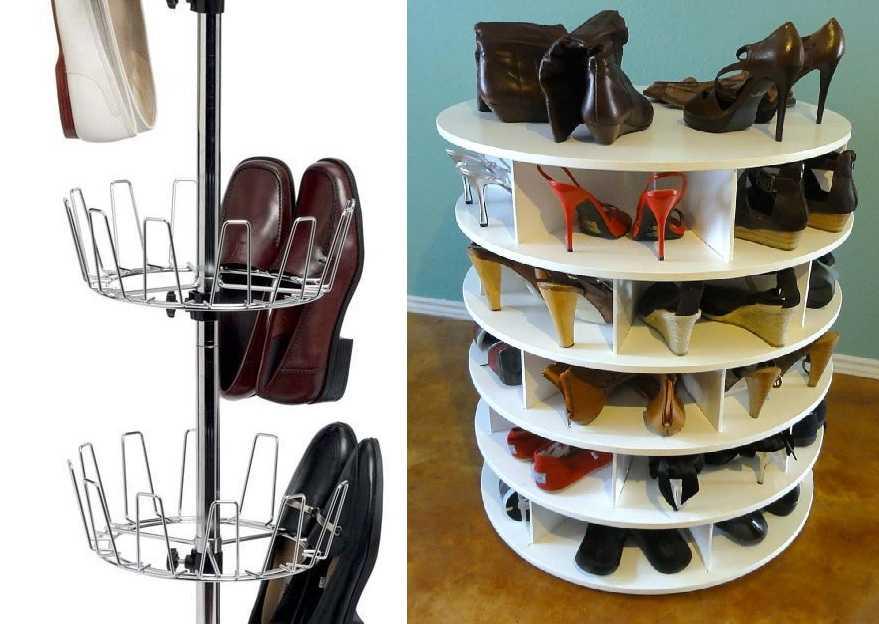 Крутящаяся полка для обуви — хороша идея для оптимального использования площади