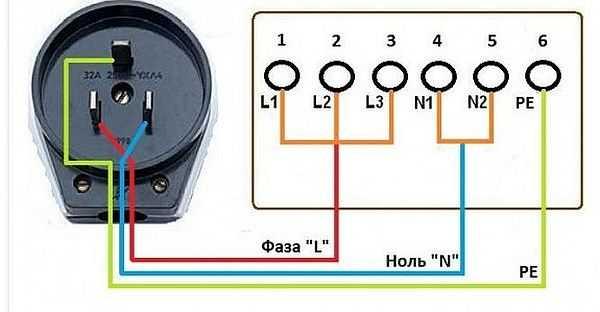 Схема подключения варочной панели к однофазной сети