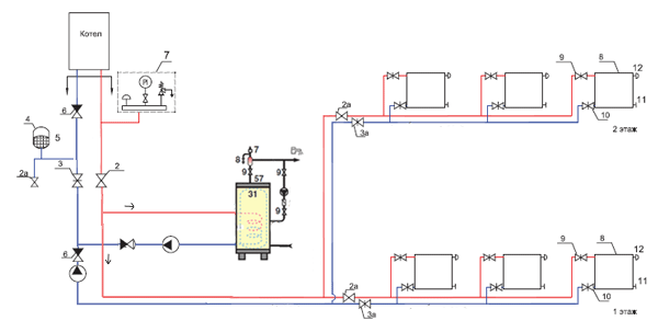 Схема подключения с двумя насосами
