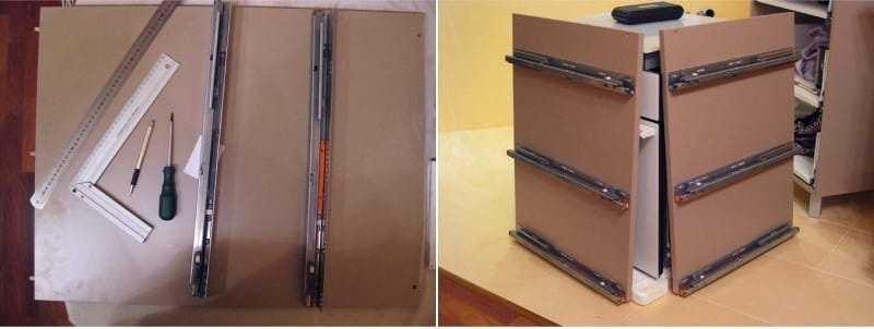 Установка направляющих в шкафчике с ящиками