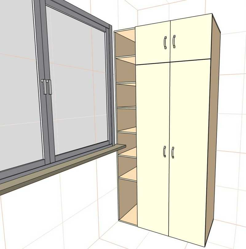 Еще вариант с открытыми полками и двумя рядами распашных дверей
