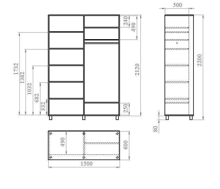 Еще вариант компоновки под раздвижные двери (глубина полок меньше на ширину нижней направляющей)
