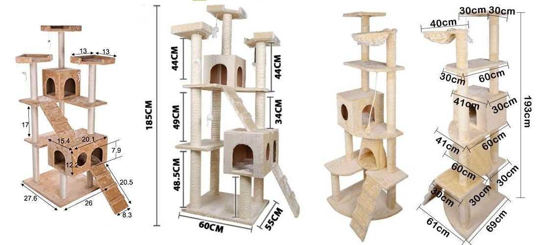 Три варианта кошачьих уголков с размерами