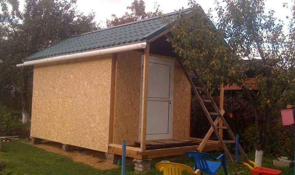 Это почти готовый сарай с двускатной крышей. Осталась отделка стен