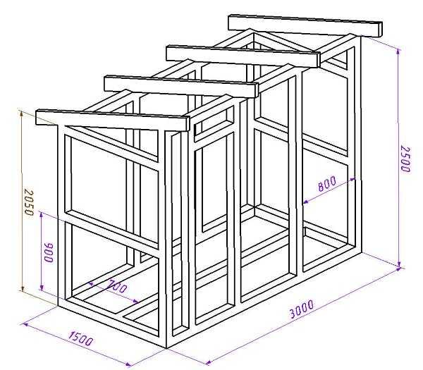 Сарай с односкатной крышей — чертеж со схемой расположения стоек