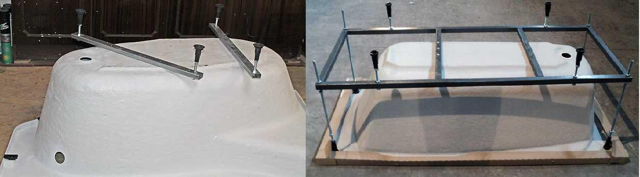 Варианты комплектации акриловых ванн — ножки и каркас