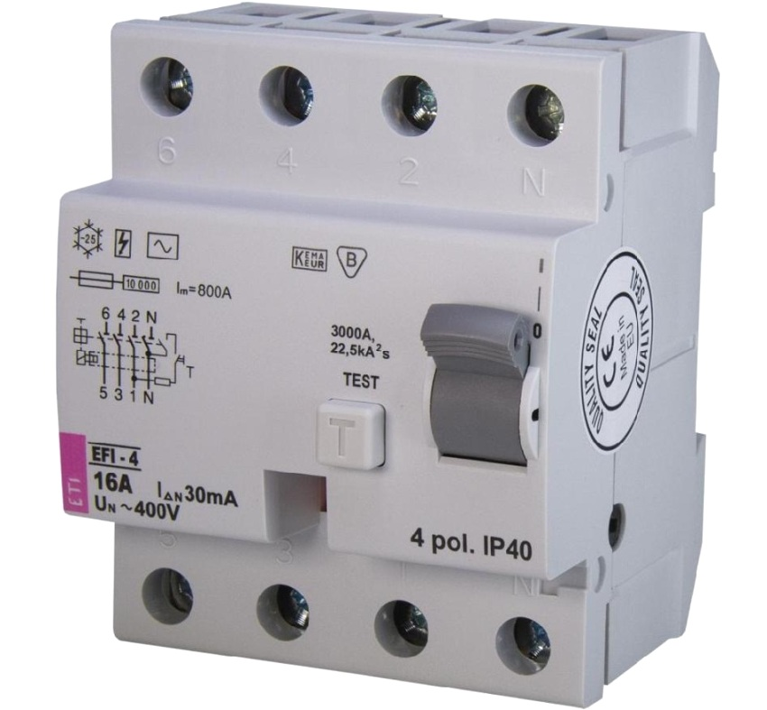 УЗО состоит из трансформатора дифференциального тока, магнитоэлектрического реле, соленоида и кнопки «Тест»