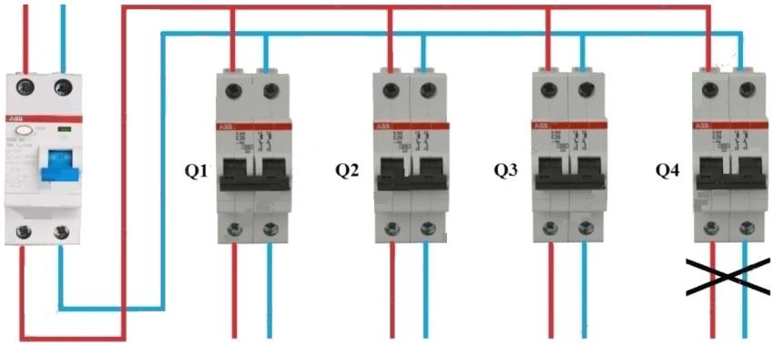 Подключение автоматов 2Р или 1Р+N к групповому УЗО