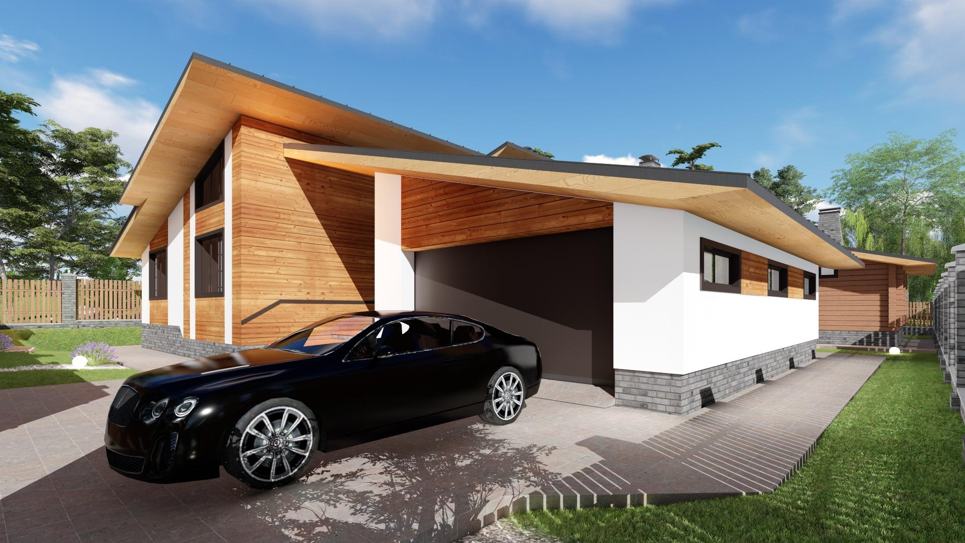Красивый гараж рядом с домом