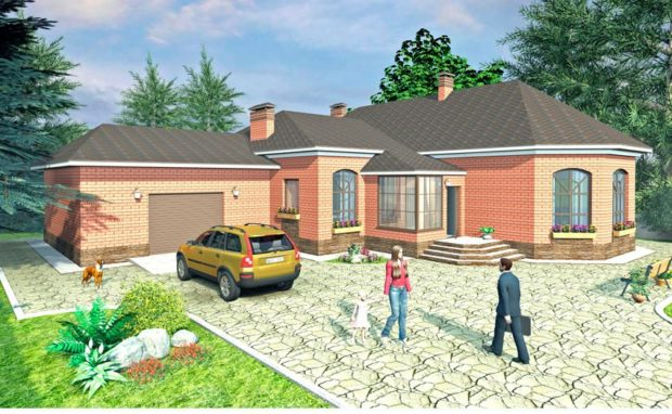 Проект Г-образного дома с гаражом