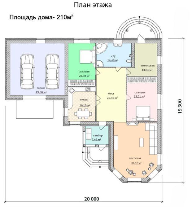 Проект Г-образного одноэтажного дома с гаражом