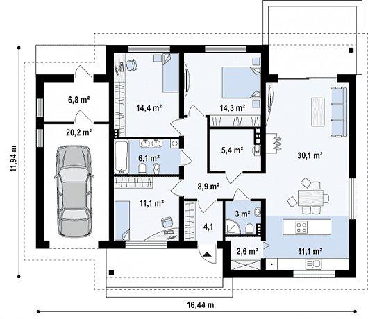 Проект одноэтажного дома с гаражом Z131
