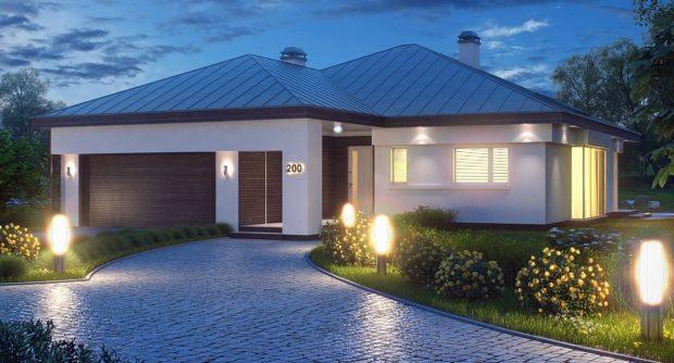 Проект одноэтажного дома с гаражом на два автомобиля Z200